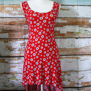 Red Dress Size Small with Flowers and